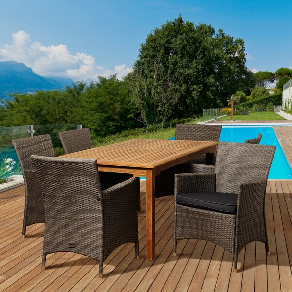 Arely International Home Outdoor 7 Piece Teak Dining Set with Cushions by Rosecliff Heights
