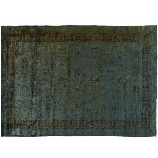 One-of-a-Kind Hand-Knotted Blue 10' x 14' Wool Area Rug