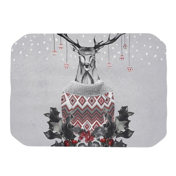 Christmas Deer Snow Placemat by KESS InHouse