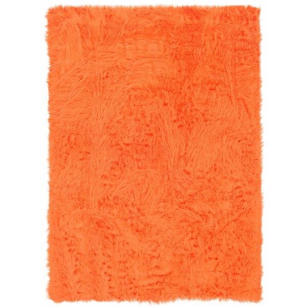 Boley Hand-Tufted Faux Sheepskin Orange Area Rug by Wrought Studio