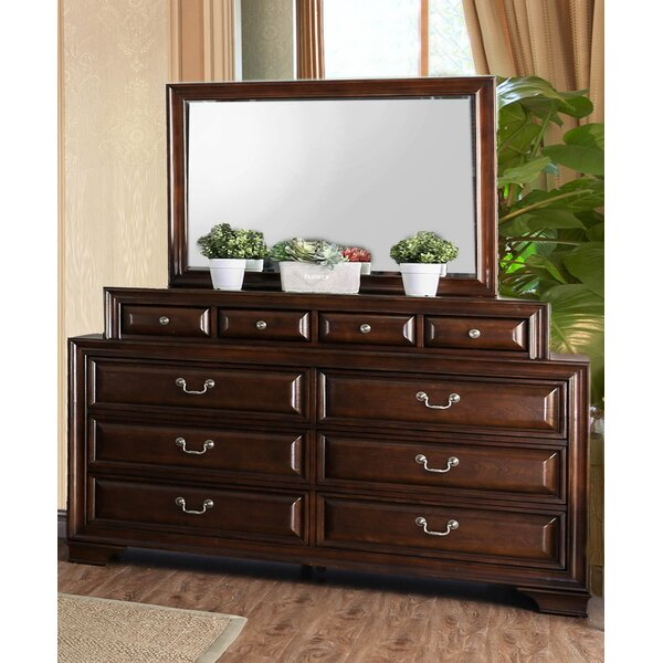 Perera 10 Drawer Double Dresser with Mirror by Charlton Home