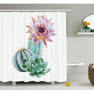 Harkness Cactus Spikes Flower Single Shower Curtain by Bungalow Rose