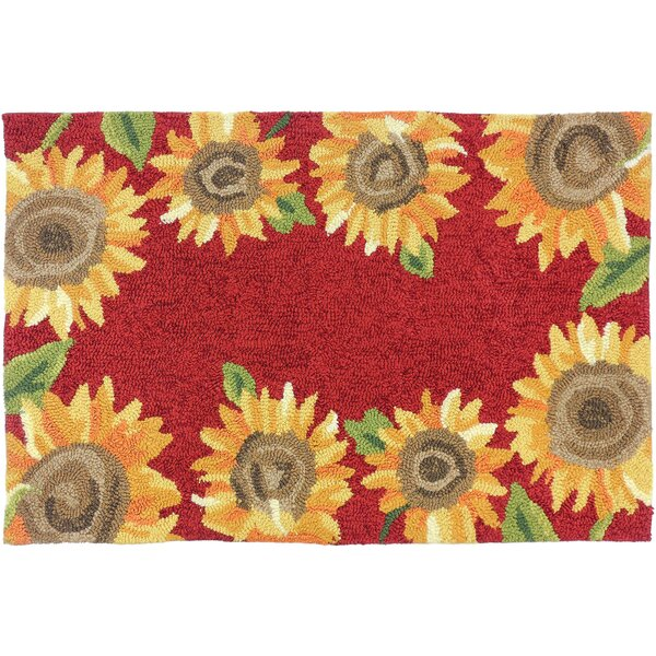 Valois Sunflower Field Red/Yellow Indoor/Outdoor Area Rug by August Grove