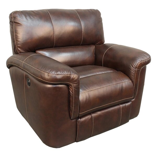 Suzann Leather Power Recliner Red Barrel Studio W002597624