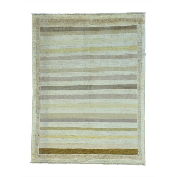 One-of-a-Kind Ferriera Striped Oriental Hand-Knotted Gray/Green Area Rug by Latitude Run