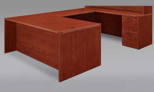 Fairplex Grommet Holes and Wire Management U-Shape Executive Desk by Flexsteel Contract