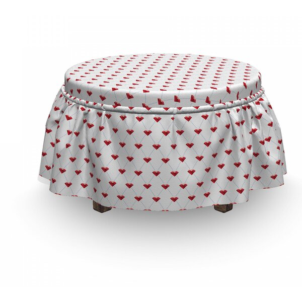 Diamonds Dotted Stones 2 Piece Box Cushion Ottoman Slipcover Set By East Urban Home