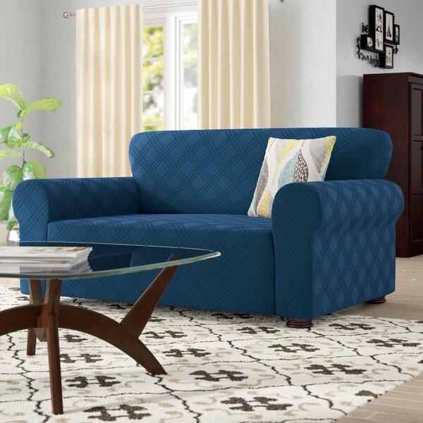 Double Diamond Box Cushion Loveseat Slipcover by Red Barrel Studio
