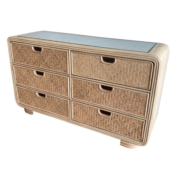 Armory Rattan 6 Drawer Double Dresser by Bayou Breeze