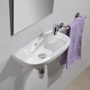 Comparison Universal Ceramic 20 Wall Mount Bathroom Sink with Overflow By Bissonnet