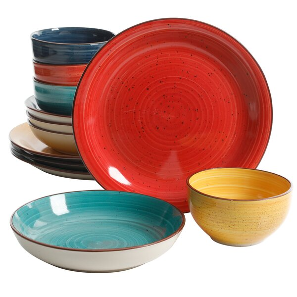 Roe Speckle Double Bowl 12 Piece Dinnerware Set, Service for 4 by World Menagerie