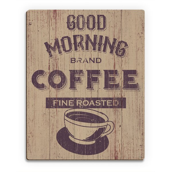 Wood Slats Morning Coffee Vintage Advertisement on Plaque by Click Wall Art
