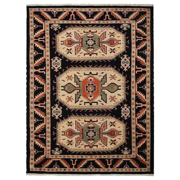 Corrin Hand-Woven Black/Cream Area Rug by Bloomsbury Market