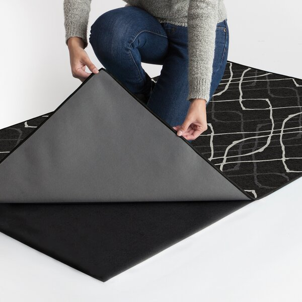 Amara Washable Black/White Indoor/Outdoor Area Rug by Ruggable