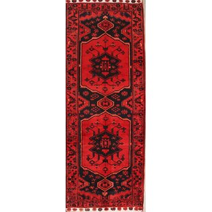 Affordable One-of-a-Kind Mckinney Geometric Bakhtiari Vintage Persian Hand-Knotted Runner 3'8 x 9'10 Wool Red/Brown/Black Area Rug By Isabelline