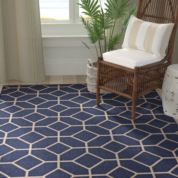 Eason Navy/Beige Indoor/Outdoor Area Rug by Breakwater Bay