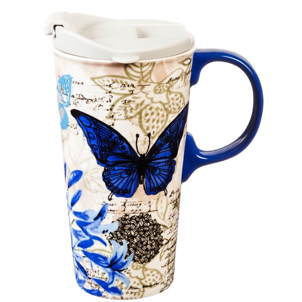 Alannah Blue Floral Travel Mug by August Grove