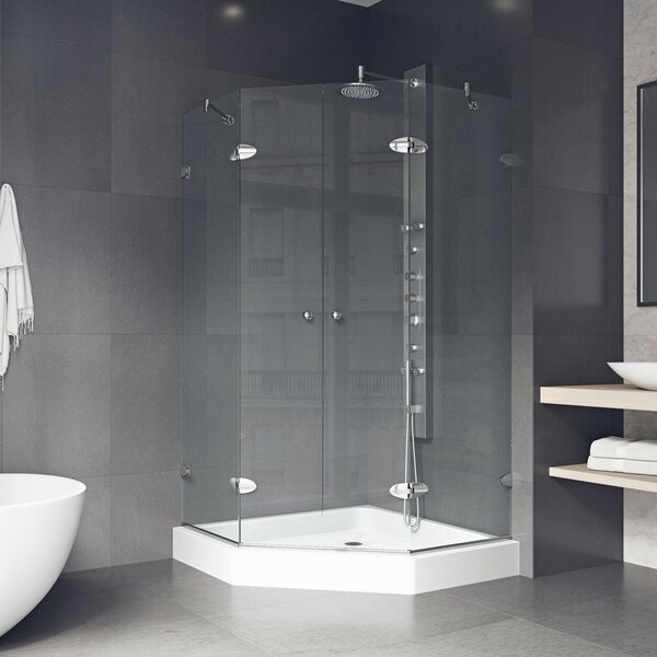Shower 42.13 x 78.75 Neo-Angle Hinged Shower enclosure with Base Included by VIGO