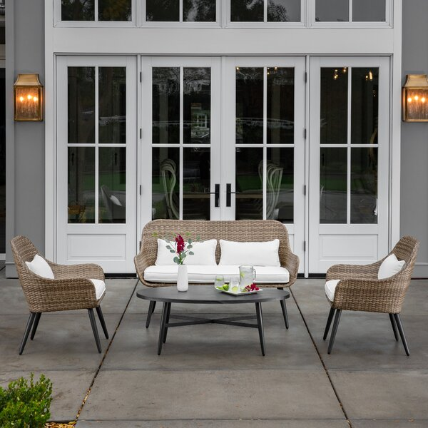 Giavanna 4 Piece Sofa Seating Group with Cushions by Highland Dunes