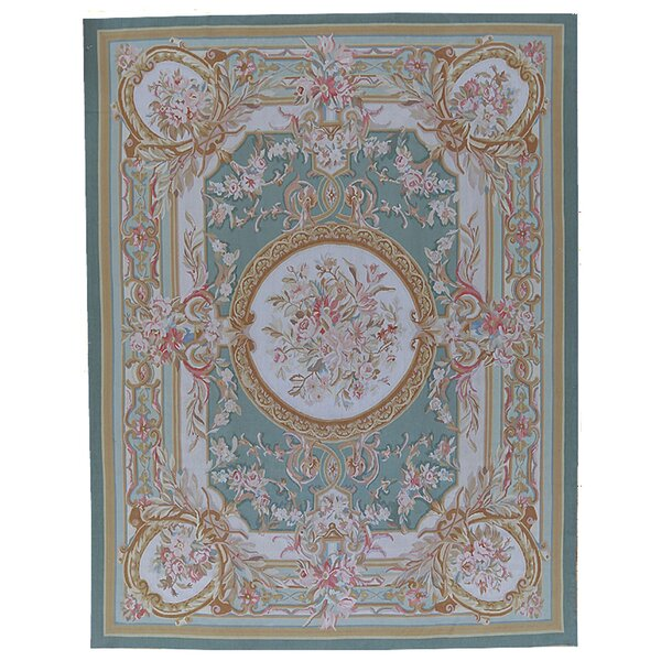 Aubusson Hand-Woven Wool Green/Brown Area Rug by Pasargad