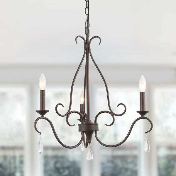 Stanfill 3 - Light Candle Style Classic / Traditional Chandelier With Crystal Accents By Canora Grey