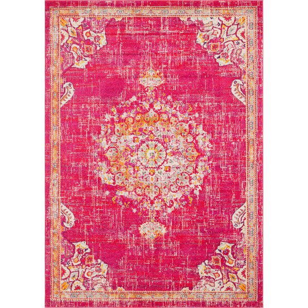 Ernst Magenta/Orange Area Rug by Bungalow Rose