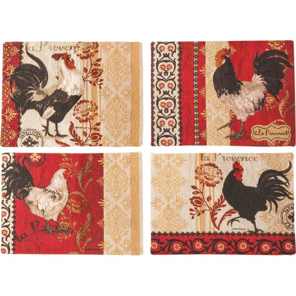 La Provence Rooster BKD 4 Piece Placemat Set by Manual Woodworkers & Weavers