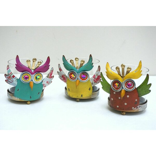 3 Piece Owl Hurricane Glass/Metal Candle Holder Set by Attraction Design Home