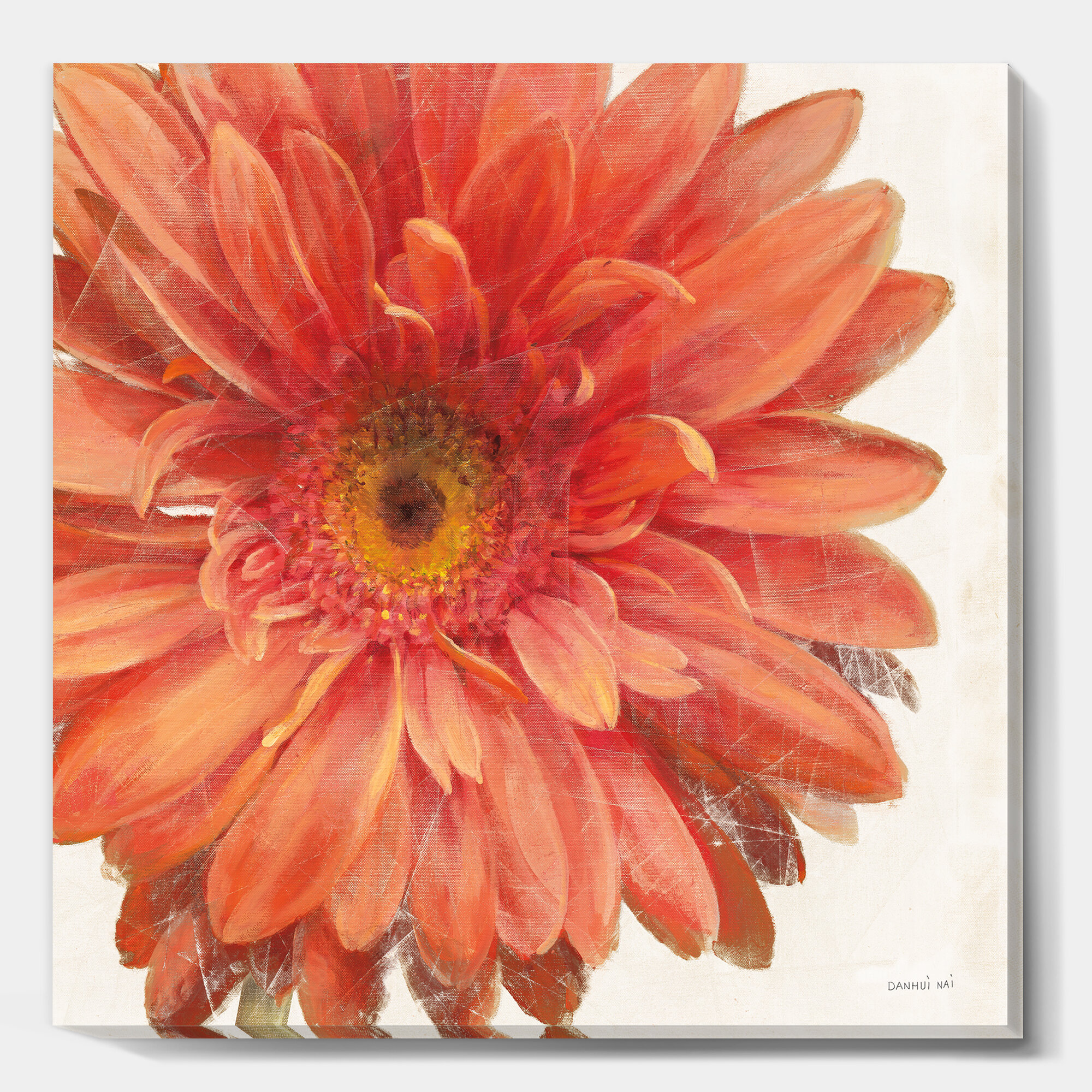 East Urban Home Vivid Red Daisy Painting Print On Canvas Wayfair