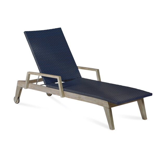 Angelica Reclining Teak Chaise Lounge By Longshore Tides