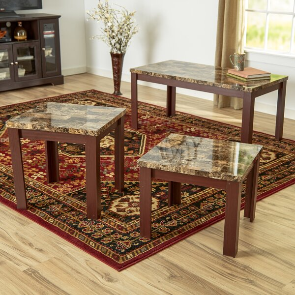 Cecil Marble Top 3 Piece Coffee Table Set by Andover Mills