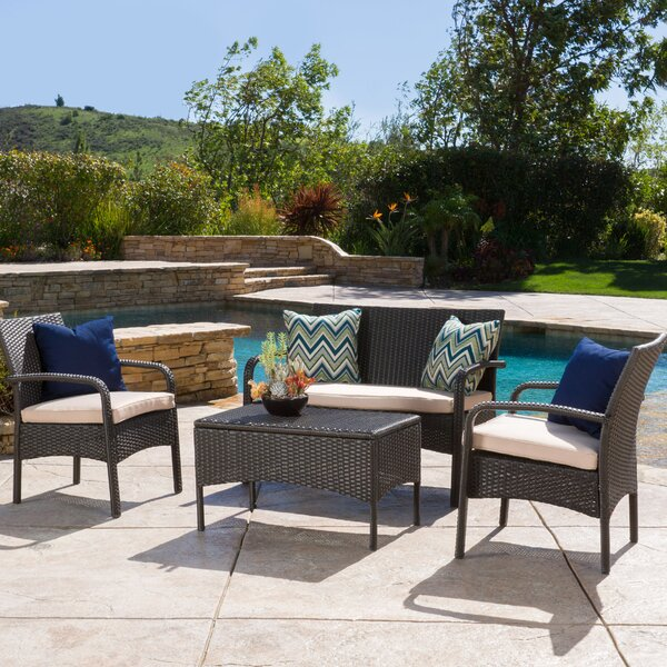 Jeffrey 4 Piece Rattan Sofa Set with Cushions by Alcott Hill