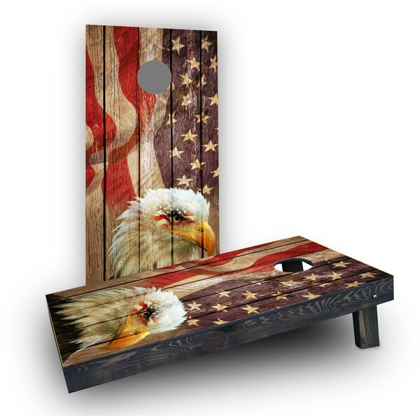 Weathered Woodslatt American Bald Eagle  Cornhole Boards (Set of 2) by Custom Cornhole Boards
