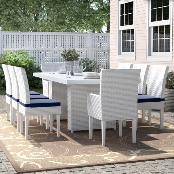 Menifee 9 Piece Outdoor Patio Dining Set with Cushions by Sol 72 Outdoor