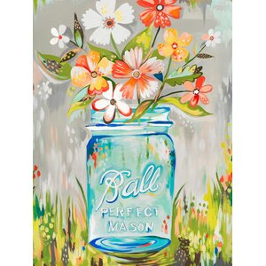 Ball Perfect Mason Jar by Katie Daisy Framed Painting Print on Wrapped Canvas by Wheatpaste Art Collective