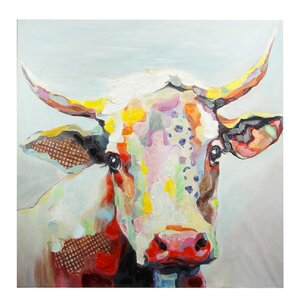 Colorful Bessie the Cow Painting Print by Latitude Run
