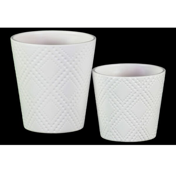 Dawlish Round Shaped Ceramic Pot Planter Set (Set of 2) by Charlton Home