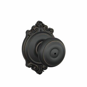 Georgian Knob with Brookshire Trim Bed and Bath Lock