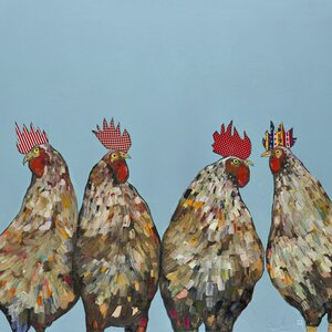 'Roosters' by Eli Halpin Graphic Art on Wrapped Canvas by GreenBox Art