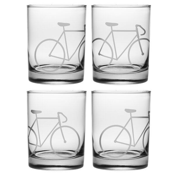 Brookview Bicycle 14 oz. Rocks Glass (Set of 4) by Mercury Row