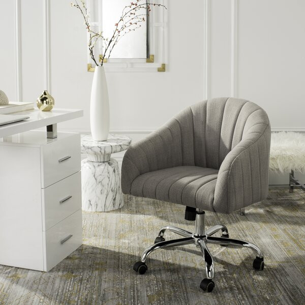 Balcom Linen Swivel Mid-Back Desk Chairvelvet in Gray by Wade Logan