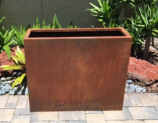 Aurelius Edge Raw Corten Steel Planter Box by Bloomsbury Market