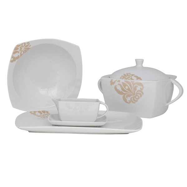 Bloomfield Square Fine China Special Serving 5 Piece Dinnerware Set by Shinepukur Ceramics USA, Inc.