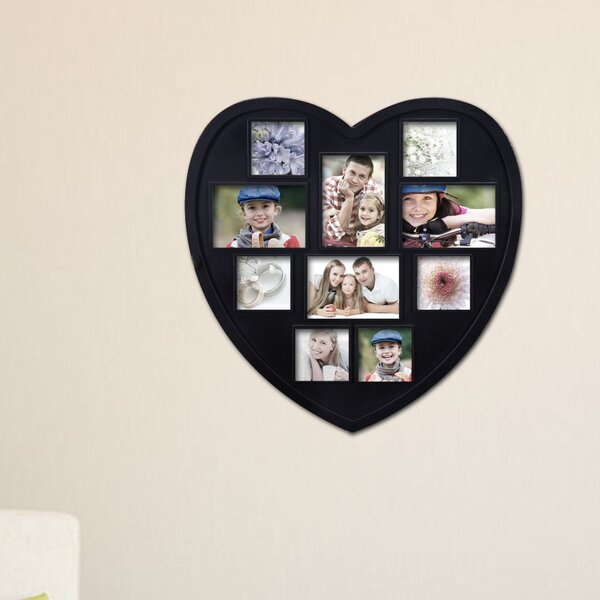 10 Opening Decorative Heart Shaped Wall Hanging Picture Frame by Adeco Trading