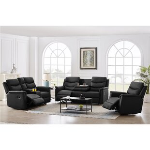 Chandel 3 Piece Faux Leather Reclining Living Room Set by Latitude Run®