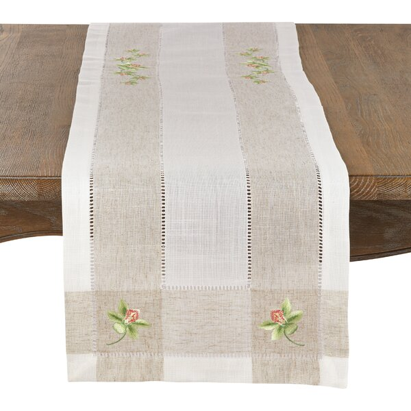 Beagley Orchid Embroidery Hemstitched Table Runner by August Grove