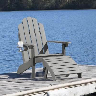 Highpoint Plastic Adirondack Chair with Ottoman Color: Coastal Teak