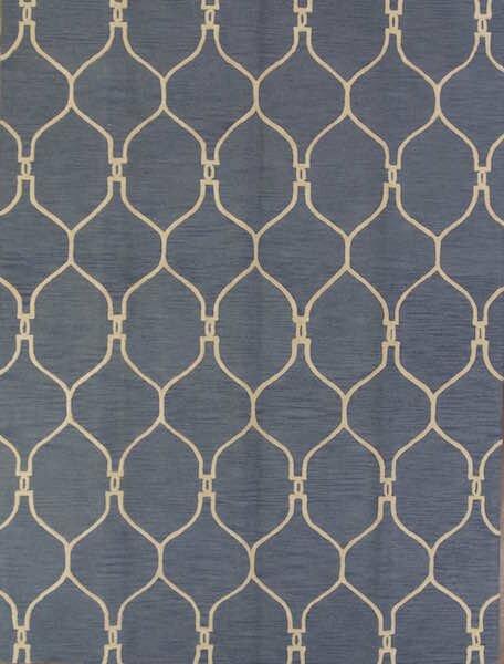 One-of-a-Kind Senna Trellis Oriental Hand-Tufted Wool Navy/Blue Area Rug by Alcott Hill