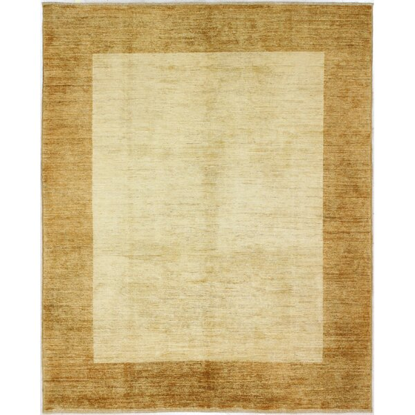 One-of-a-Kind Rejali Hand-Woven Wool Ivory/Gold Area Rug by Red Barrel Studio