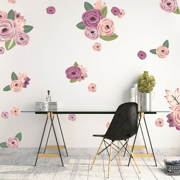 60 Piece Cluster Flowers Wall Decal Set by Urban Walls